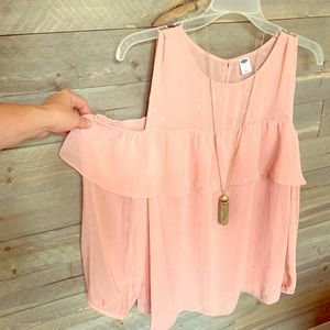 Blush colored open shoulder shirt. NWT
